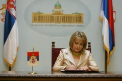 13 March 2012 National Assembly Speaker Prof. Dr Slavica Djukic Dejanovic signs the Decision on calling the elections for councilors of local self-government unit assemblies