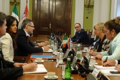 2 July 2015 National Assembly Deputy Speaker MA Igor Becic and the Chairperson of the Defence and Internal Affairs Committee Marija Obradovic in meeting with Italian Defence Minister Roberta Pinotti