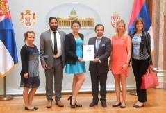 25 August 2015  Deputy Speaker Marinkovic and the representatives of organisation One Young World