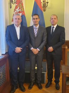 5 June 2019 The Chairman and member of the Committee on the Diaspora and Serbs in the Region Miodrag Linta and Blaza Knezevic and Hungarian Embassy Counsellor Tamás Böde