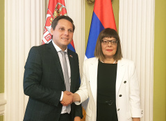 11 July 2019 National Assembly Speaker Maja Gojkovic with the head of the Austrian Parliament's Friendship Group with Serbia Christian Kovacevic