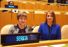 "12 March 2019 MPs Elvira Kovacs and Biljana Pantic Pilja at the 63rd session of the Commission on the Status of Women with the topic ""Sexism, harassment and violence against women parliamentarians"""
