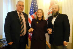14 March 2019 The chairmen of the Committee on Education, Science, Technological Development and the Information Society, Dr Muamer Zukorlic, and the Culture and Information Committee, Mirko Krlic, with US Assistant Secretary of State Marie Royce