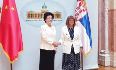 30 August 2019 National Assembly Speaker Maja Gojkovic and the Vice-Chairperson of the National Committee of the Chinese People's Political Consultative Conference Li Bin