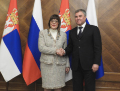 12 February 2020 National Assembly Speaker Maja Gojkovic and the Chairman of the Russian State Duma Vyacheslav Volodin