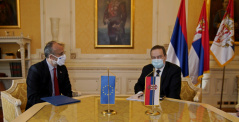 2 December 2020  National Assembly Speaker Ivica Dacic and the Head of EU Delegation to Serbia Ambassador Sem Fabrizi