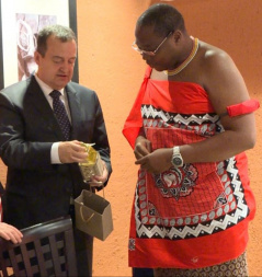 The Speaker of the National Assembly of the Republic of Serbia Ivica Dacic and the Prime Minister of the Kingdom of Eswatini Ambrose Dlamini