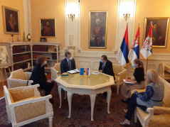 20 November 2020 National Assembly Speaker Ivica Dacic in meeting with the Head of Council of Europe Office in Belgrade Tobias Flessenkemper