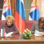 12 May 2015 The Speaker of the National Assembly of the Republic of Serbia Maja Gojkovic and the Chairperson of the Russian Federation Council Valentina Matviyenko sign the Agreement on Interparliamentary Cooperation between the National Assembly and the