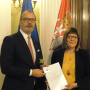 19 April 2018 National Assembly Speaker Maja Gojkovic and the Head of the EU Delegation to Serbia Sem Fabrizi